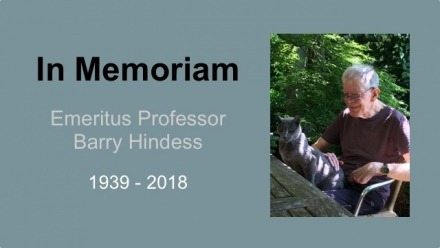 Vale Emeritus Professor Barry Hindess