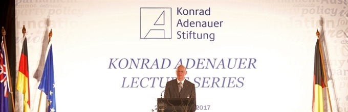 Professor Dr Norbert Lammert gives the inaugural Konrad Adenauer Lecture. Photo credit: KAS Australia and the Pacific
